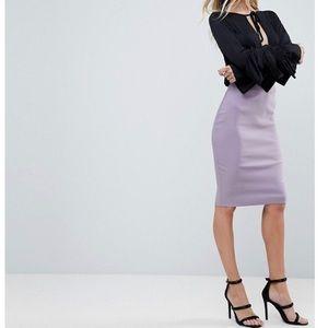 Asos high waisted purple pencil skirt.